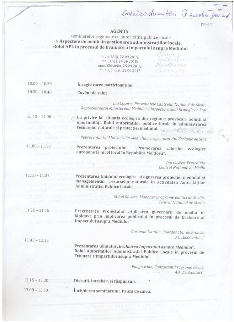 Agenda seminarelor regionale cu autoritatile publice locale